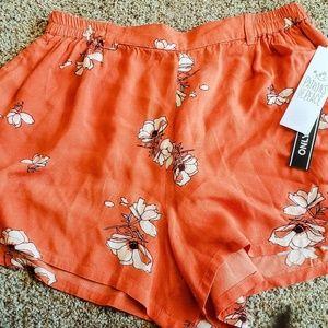 Orange Floral Shorts